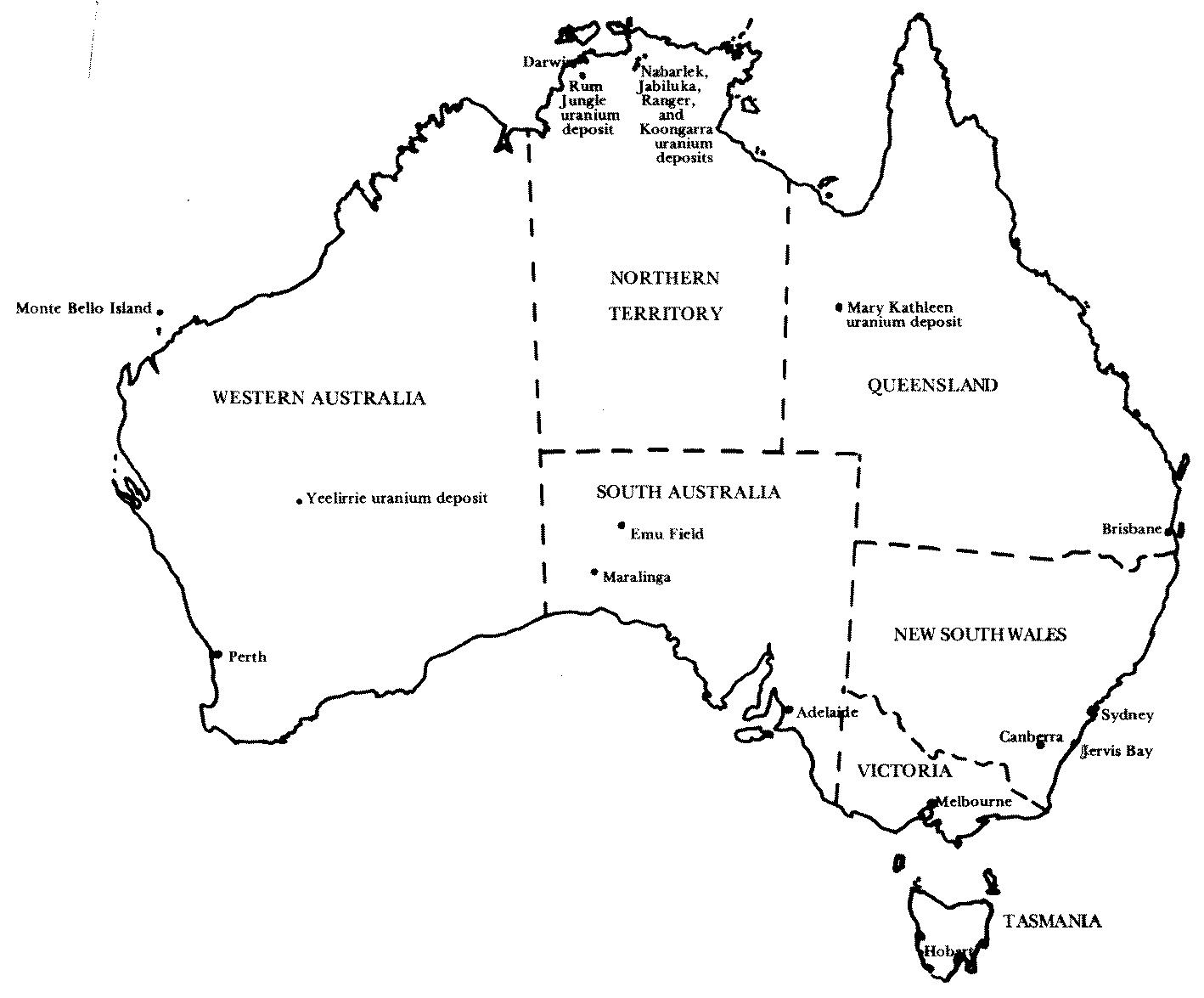 The Australian Antiuranium Movement - Map of us drawn by australian